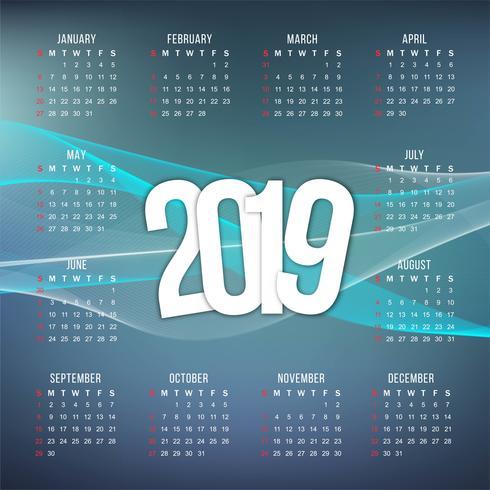 Abstract nieuwjaar 2019 kleurrijk kalenderontwerp