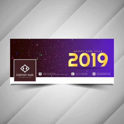 New Year 2019 social media decorative banner design