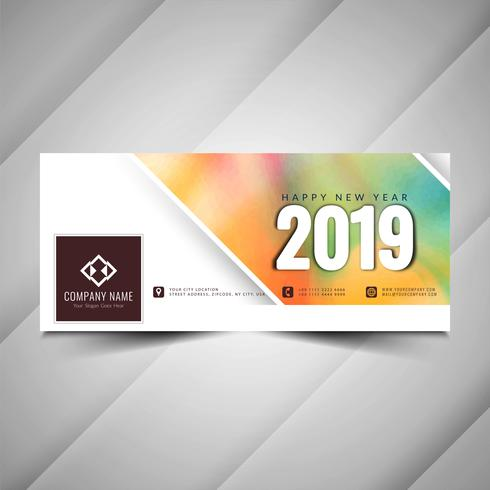 Happy New Year 2019 social media modern banner