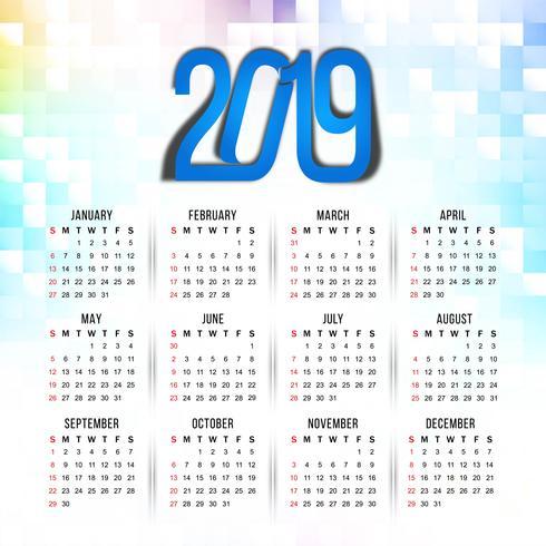 Abstrakt nyår 2019 färgstark kalenderdesign