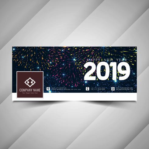 Nytt år 2019 sociala medier färgglada banner mall