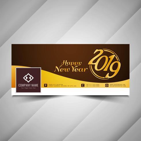 New Year 2019 stylish social media banner design
