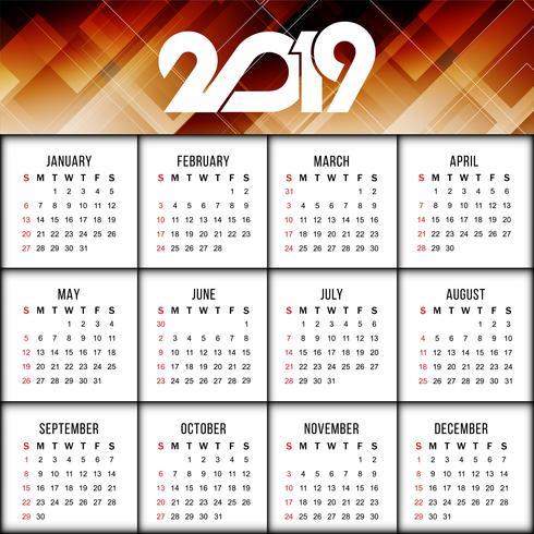 Modelo de design moderno calendário de ano novo 2019