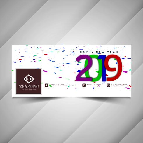 New Year 2019 social media decorative banner design