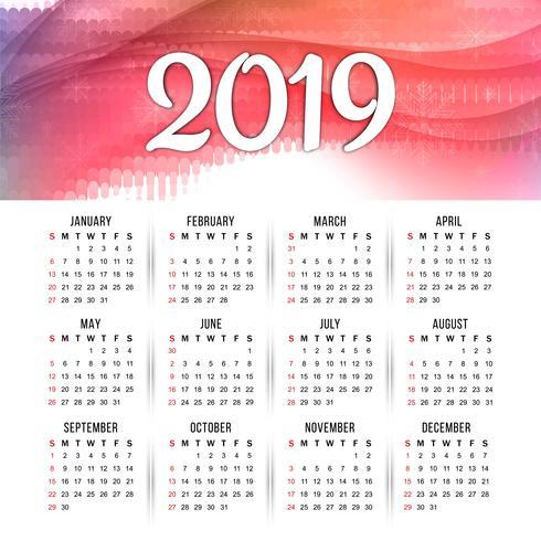 Modern nieuw jaar 2019 kalender ontwerpsjabloon