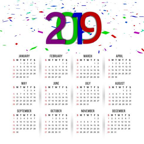 Abstract elegant New Year 2019 calender background vector
