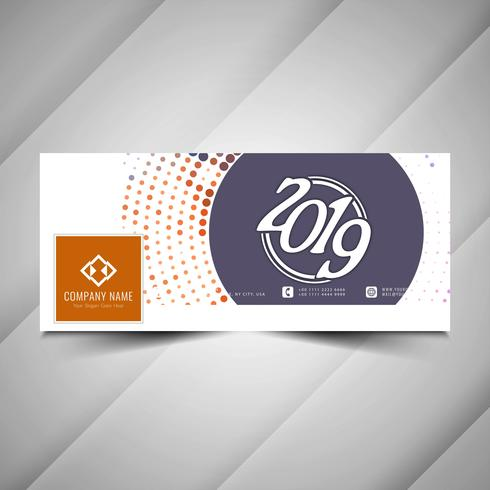 New Year 2019 social media colorful banner template