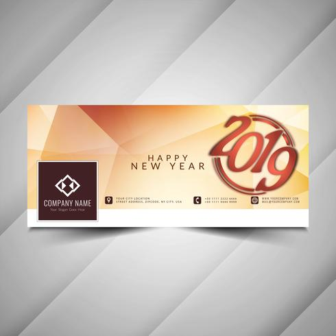 Happy New Year 2019 social media banner template