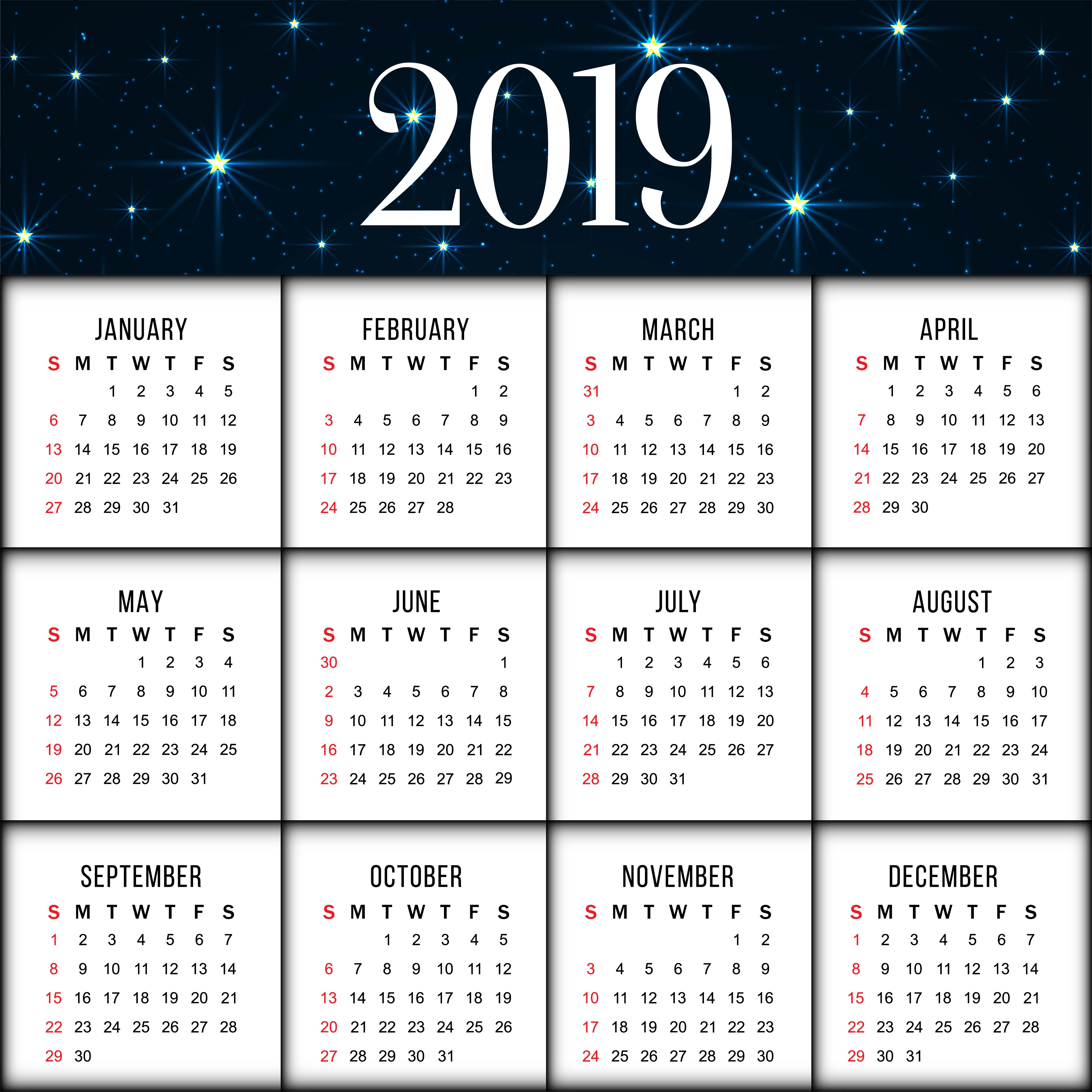 Abstract elegant New Year 2019 calender background ...