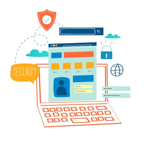 Sicurezza online, protezione dei dati vettore