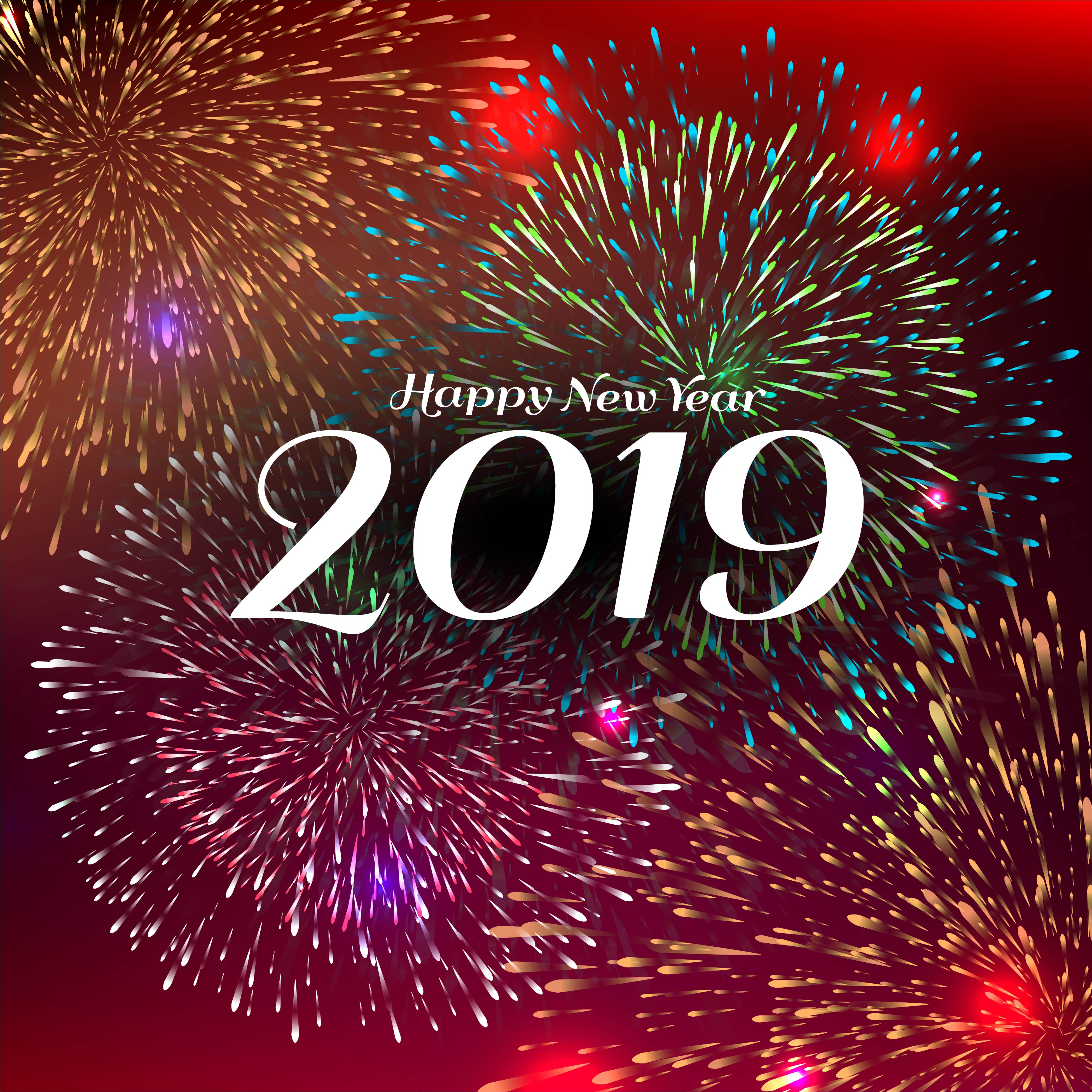 Abstract Happy new year 2019 celebration background - Download Free Vectors, Clipart Graphics