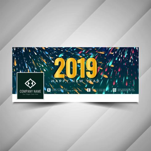 Neues Jahr 2019 stilvolle Social Media-Banner-Design