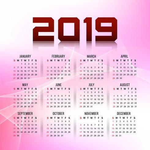 Modern New Year 2019 calender design template