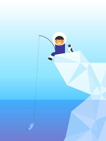 Esquimal pesca ilustración vectorial vector