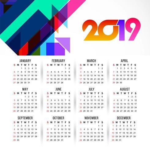 Modèle de conception moderne calendrier 2019
