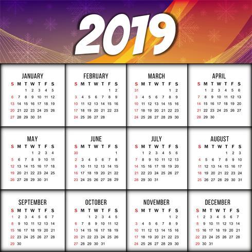 Calendario 2019 Moderno.Modello Di Disegno Del Nuovo Anno 2019 Moderno Calendario