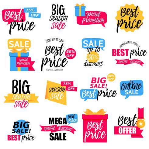 Bunte Verkauf Aufkleber Sammlung