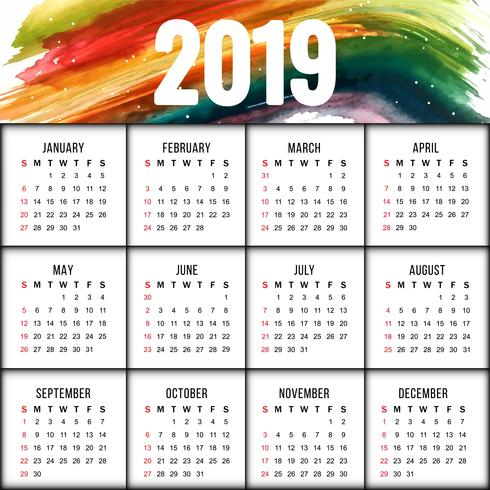 Conception de calendrier coloré abstrait Nouvel An 2019