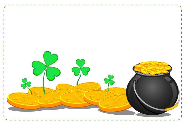Gold Coin Pot of Saint Patrick Day vector