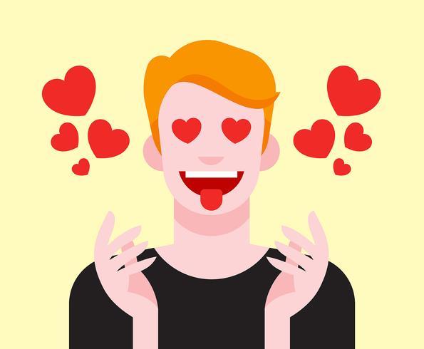Boy With Heart Eyes Illustration