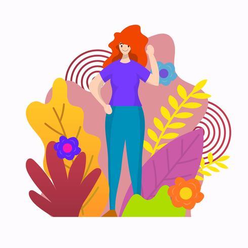 Chica linda plana con flores ilustración vectorial