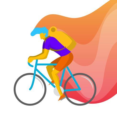 Flache Mann-Fahrrad-Vektor-Illustration