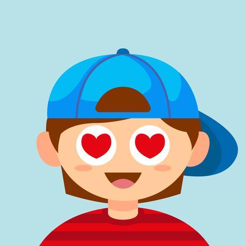 Boy with heart eyes