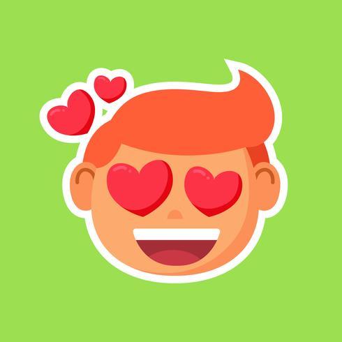 Boy with heart eyes sticker