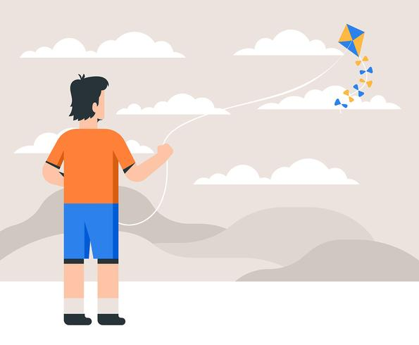 People Flying A Kite vector