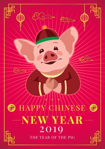 Chinese New Year Pig Concept vector