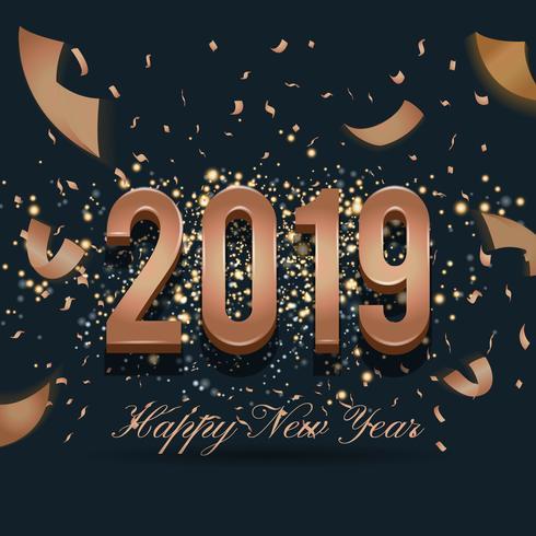 2019 Lyckligt nytt år Celebration Bakgrundsdesign med fallande R vektor