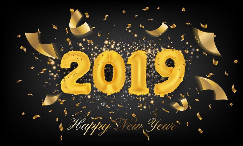 2019 feliz ano novo cartão fundo. Vecto de balão de 2019