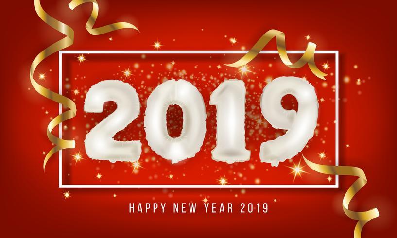 2019 Gott nytt år hälsningskort bakgrund. 2019 Balloon Vecto