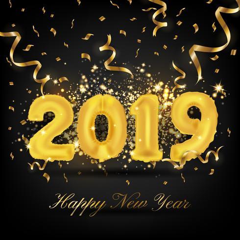 Feliz año nuevo 2019 tarjeta de felicitación de fondo. 2019 Vecto Globo
