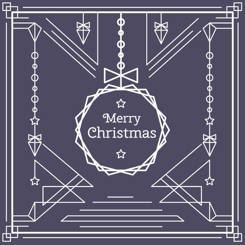 Vecteur de carte de Noël linéaire