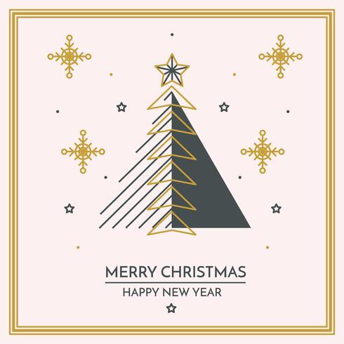 Lineal Feliz Navidad Y Feliz Año Nuevo Tarjeta vector