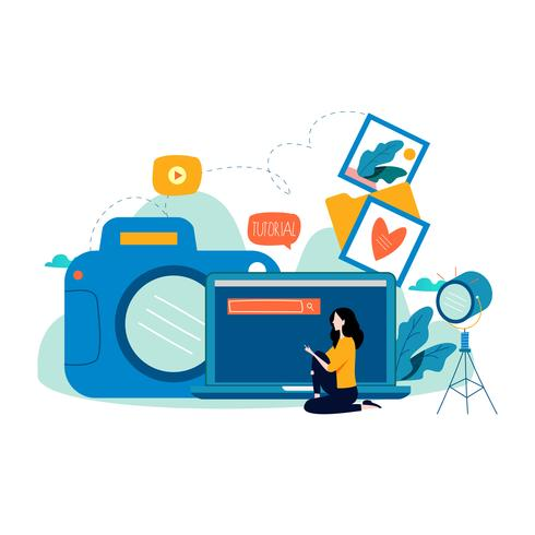 Photography classes, photography courses vector