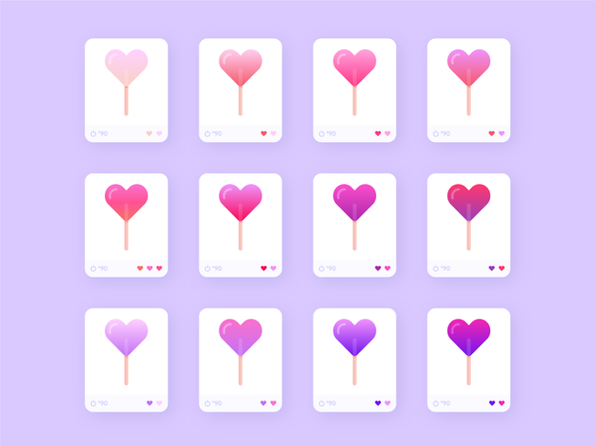 Gradient Heart Lollipops Vector