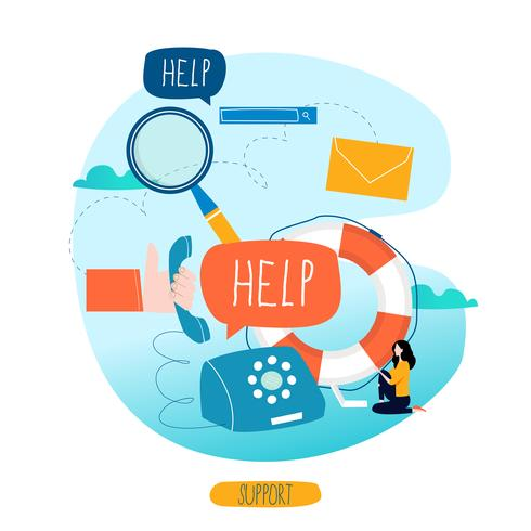 Customer service, customer assistance vector