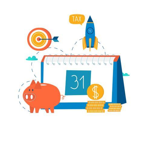 Calendário financeiro, planejamento financeiro vetor