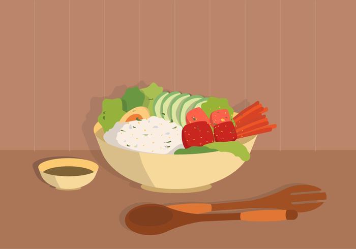 Comida Orgânica Pitch Bowl Vector Ilustração Plana