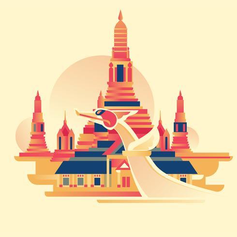 Wat Arun is a Buddhist temple in Yai district of Bangkok vector