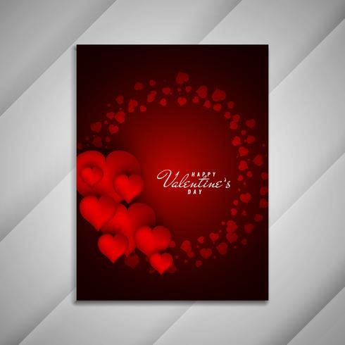 Abstract Happy Valentine's Day red brochure design presentation vector