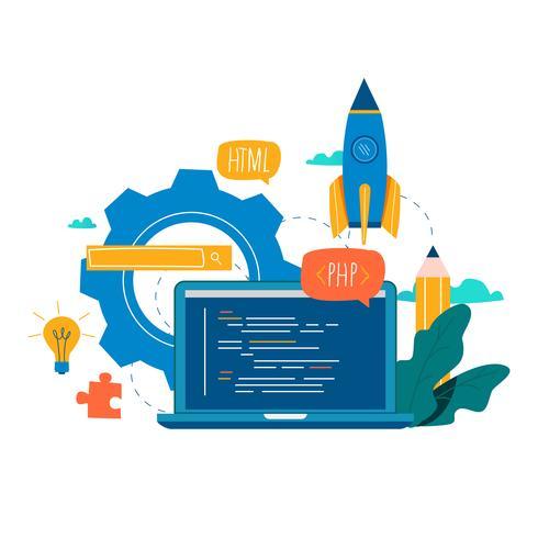 Codering, programmeren, applicatie-ontwikkeling platte vector illustratie ontwerp