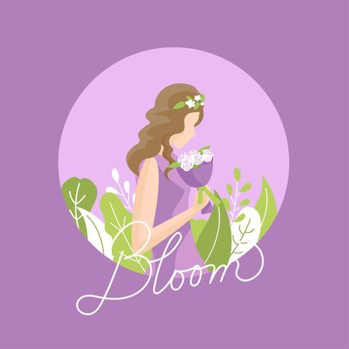 Chica con un ramo de flores púrpura