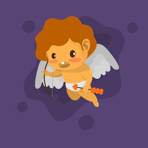 Piatto carino Cupido Vector Illustration