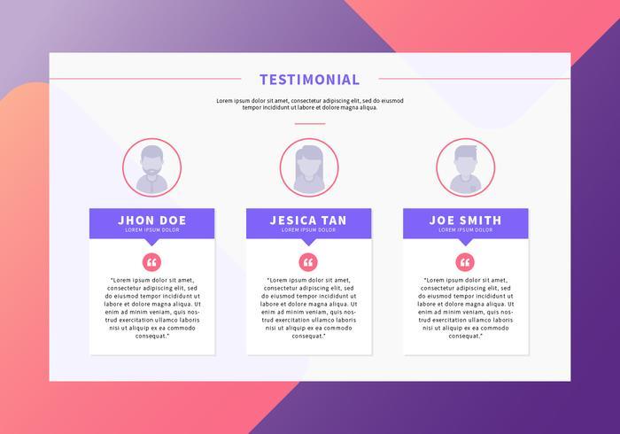 Testimonial página web de diseño vectorial.