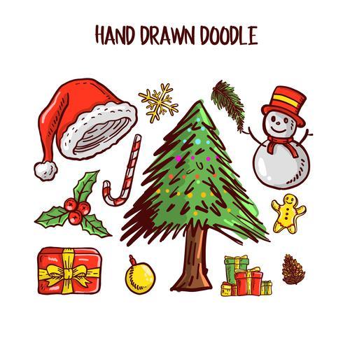 Christmas Doodle art Set. Vector Illustration