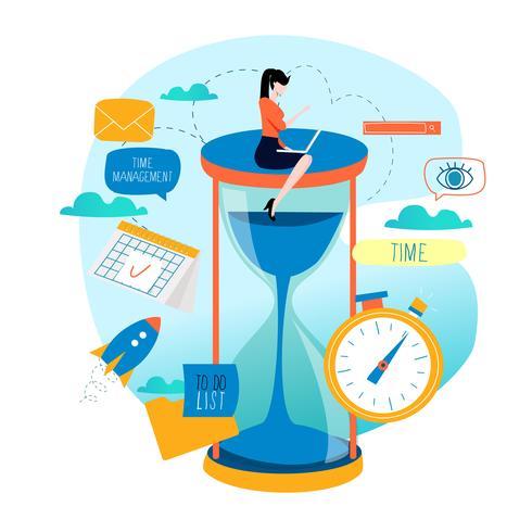 Gestion du temps, planification d'événements, organisation d'entreprise vecteur