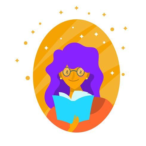 Flat Character Girl Bookworm Vector Illustration